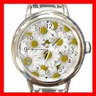 Daisy White Yellow Flowers Round Italian Charm Wrist Watch 683