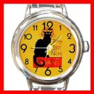 Chat Noir Black Cat Round Italian Charm Wrist Watch 685