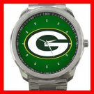 Green Bay Packers Football Silvertone Sports Metal Watch 32903599