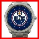 Edmonton Oilers Hockey Silvertone Sports Metal Watch 32903745
