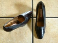 VTG. STEFANI BROWN LEATHER/SNAKESKIN  DRESS PUMPS SHOES