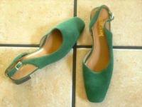 VTG. COUP D' ETAT DK. GREEN SUEDE SLINGBACK DRESS SHOES