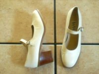 NINE WEST CREAM DISTRESSED LEATHER MARY JANE SHOES