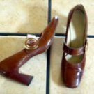 VTG. CONNIE BROWN PATENT LEATHER MARY JANE  SHOES