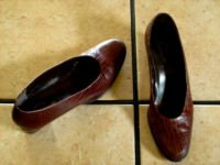 VTG. CAPPAGALLO BROWN/BLACK DISTRESSED LEATHER SHOES