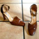 COUP D' ETAT BROWN SNAKESKIN/LEATHER ANKLE STRAP SHOES