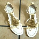 JESSICA SIMPSON LT. YELLOW LATHER GOLD BEADED SANDALS