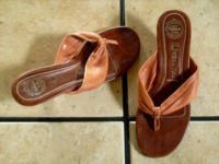 JEFFEREY CAMPBELL BROWN DISTRESSED LEATHER THONG SHOES