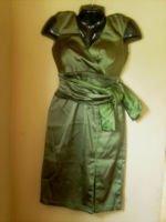 TADASHI PETITE PESTO STRETCH SATIN KIMONO DRESS