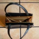 VTG. NAVY BLUE LEATHER ARTSY TOTE HANDBAG PURSE