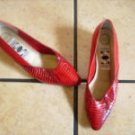 VTG. SKYELIGHTS RED LEATHER/ SNAKESKIN DRESS SHOES