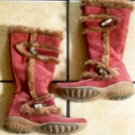 TAMARIS BURGUNDY SUEDE/POLYACRYL BELTED BUTTON BOOTS