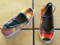 ESPIRIT MULTI-COLORED PLAID CANVAS PEEP-TOE WEDGE SHOES