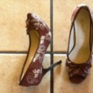 NADARA BROWN/CREAM CANVAS FLORAL PEEPTOE HEELS SHOES
