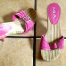 MIA PINK LEATHER/WOOD HEELED BELTED JEWELED SANDALS