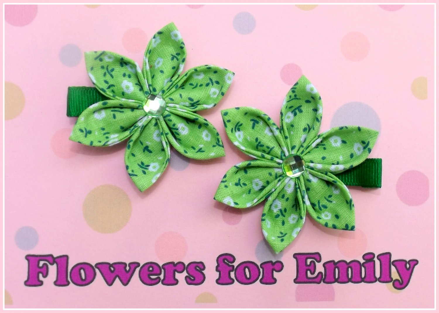 Lime Green Kanzashi Flower Hair Clips
