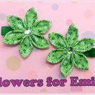 Lime Green Kanzashi Flower Hair Clips