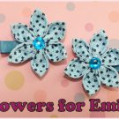Sky Blue Kanzashi Hair Clips
