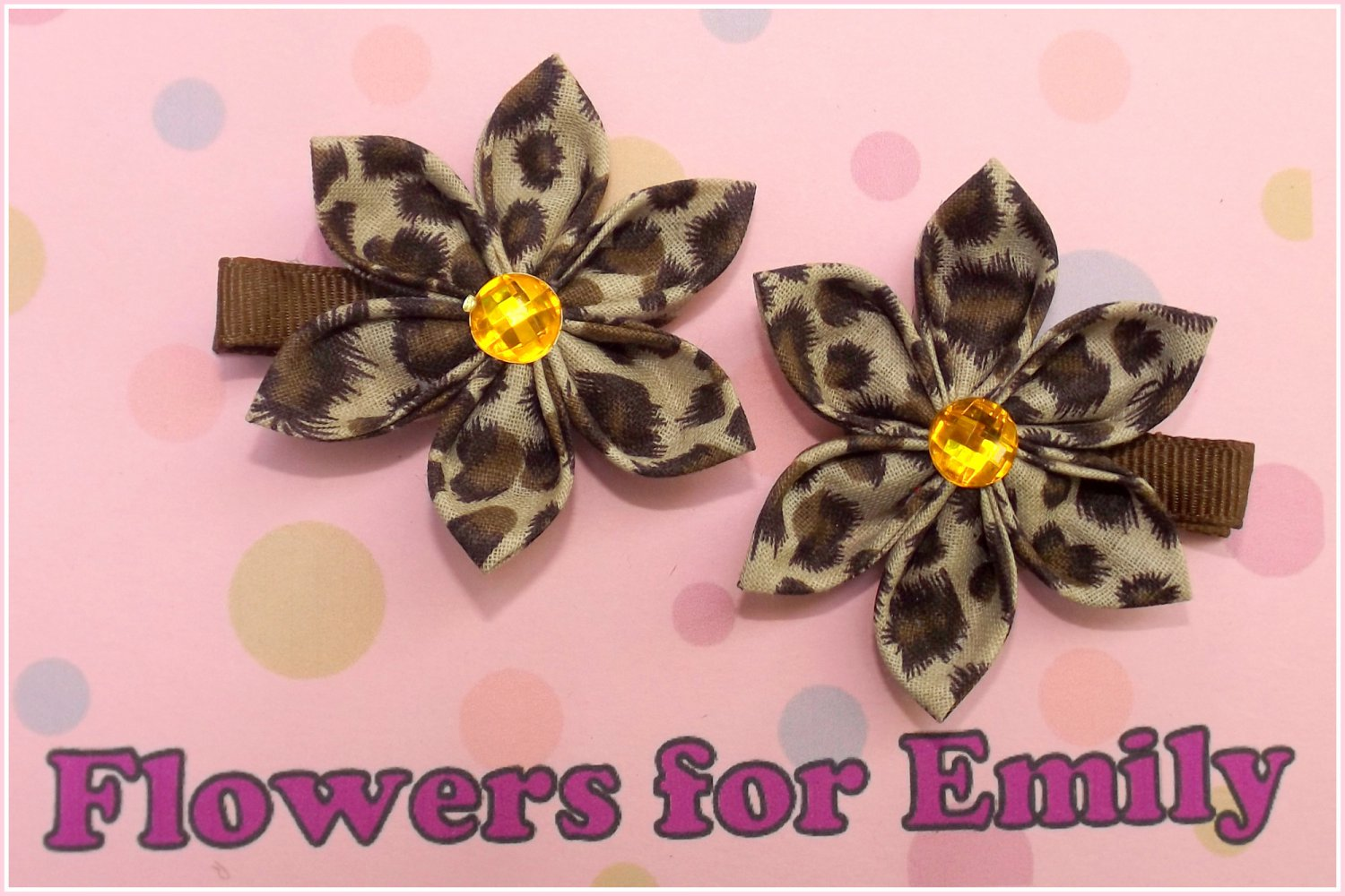 Fuzzy Brown Kanzashi Hair Clips