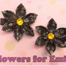 Dark Chocolate Kanzashi Hair Clips