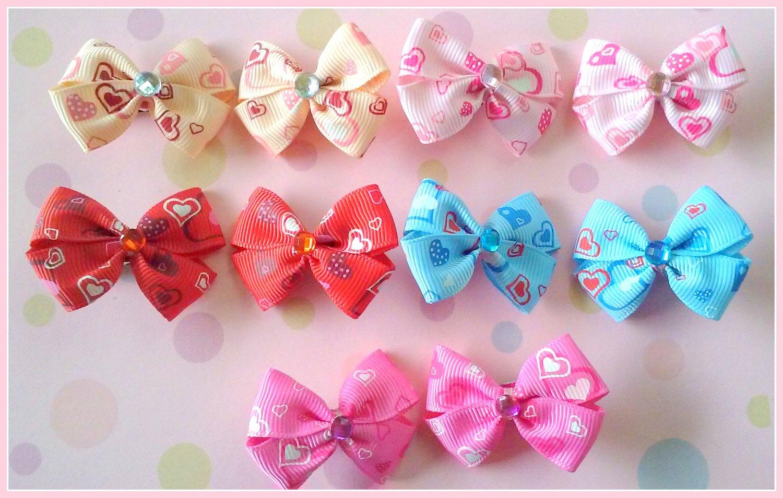 Hearts Bitsy Bows (5 pairs)