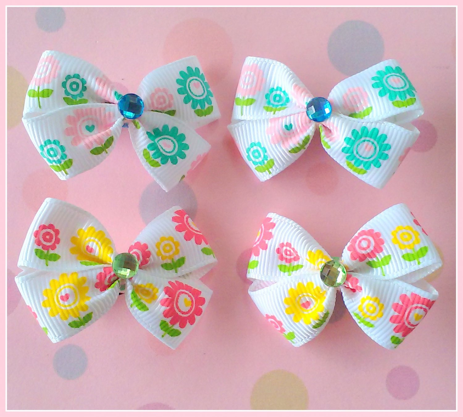 Spring Flowers Bitsy Bows (2 pairs)