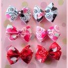 Swirl Hearts Bitsy Bows (3 pairs)