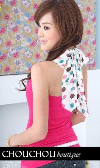 Cute sweet pink halter with polka dot ribbon chiffon tie - small