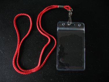 VINYL BADGE ID CARD / NAME TAG HOLDERS + NECK LANYARD WITH SWIVEL HOOKS