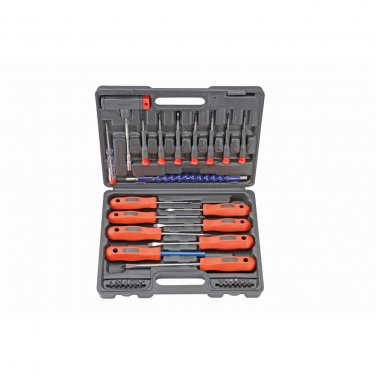 32 Piece Magnetic Precision Slotted, Philips, Hex Screwdriver Set with Bits