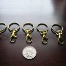 5 Gold Key Rings With Lobster Snap Hook / Swivel Clips / Key Chain Holder