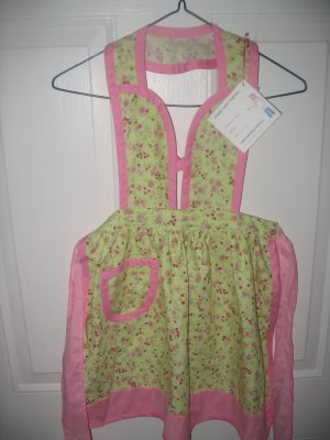 Child's Light Lime Green and Pink Floral Apron with Rolling Pin