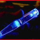 LIGHT PEN BRIGHT BLUE BULB neon glow in dark,  ALL METAL body, stocking stuffer