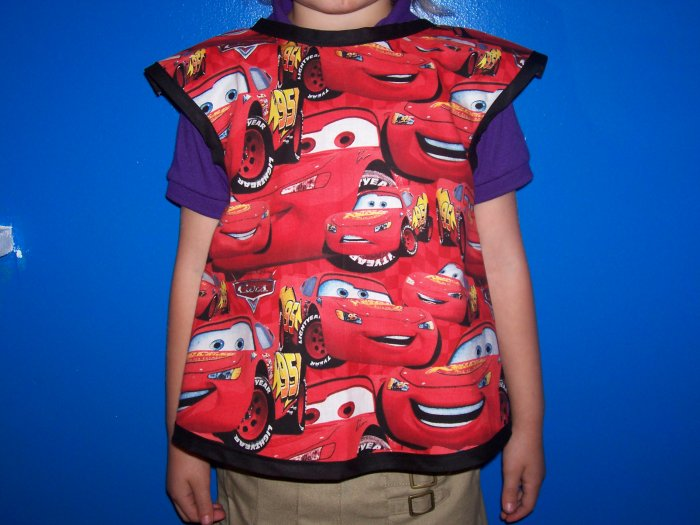 Handmade Lightining McQueen Childs Smock Apron
