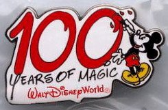 2 Walt Disney World 100 YEARS OF MAGIC Pins Cast Press