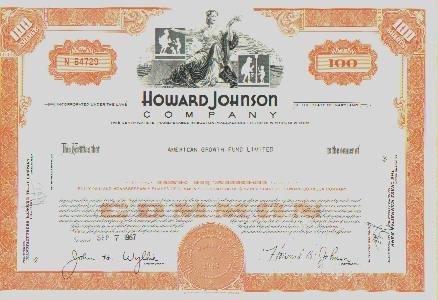 3 Vintage Howard Johnsons Stock Certificates GREAT VIGNETTES