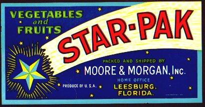 6 OLD Florida Vegetables Fruits Crate Labels STAR PAK
