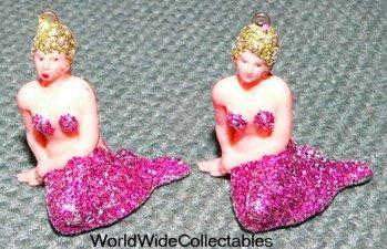 2 sweet 1960s Glitter NUDE FIGURAL Mermaids FLORIDA Charms