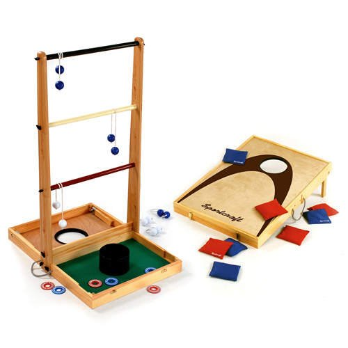 outdoor 3 game combo ladderball washer toss and bean bag toss