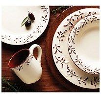 Terracota Dinnerware Set - 16pc. Rustic Leaf Design