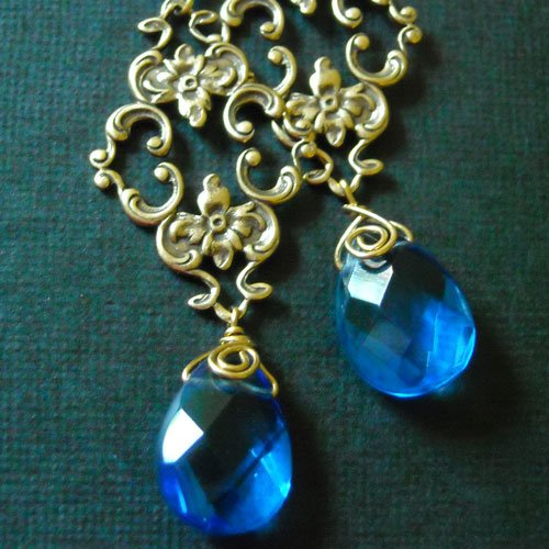Sky vintage golden brass blue quartz filigree drop earring