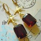 VINTAGE garnet glass golden brass bird octagon Earring