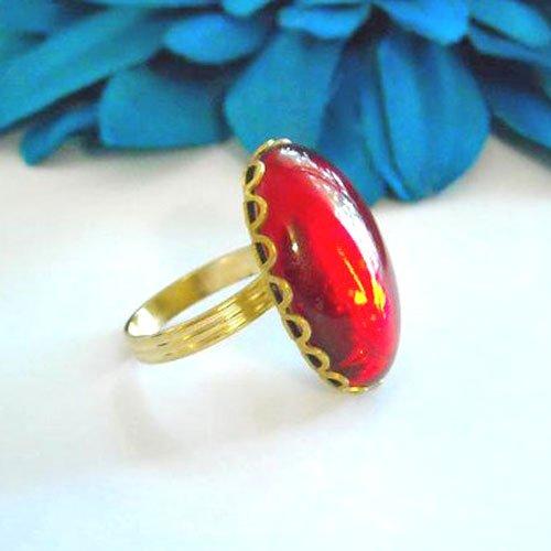 LOVE ME Vintage Shinny red CAB GLASS adjustable ring (