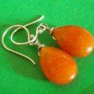 Happy orange jade gemstone sterling silver Earring