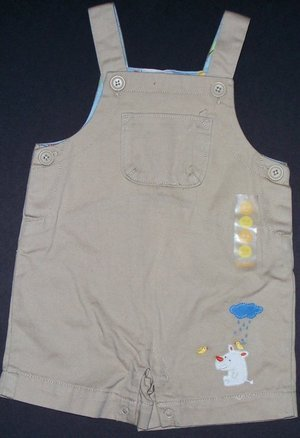NEW GYMBOREE JUNGLE PARADE KHAKI RHINO SHORTALL PREEMIE