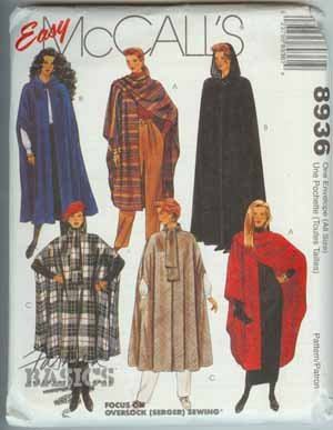 Cape Pattern Easy McCall's Sizes 6-20 Misses Opt Hood,8936