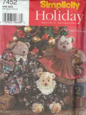 3 Bears Christmas or Regular Pattern Fancy Outfits Simplicity 7452