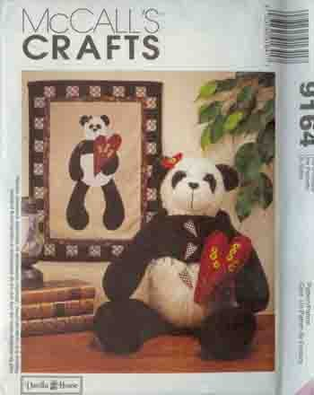 "Stuffed Panda 22"" & Quilt McCall's 9164 Craft Pattern"