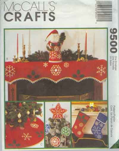 Christmas Centerpiece Tree Skirt & Topper Ornaments Mantle Piece Stocking McCall's Pattern 9500