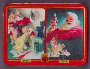 Coca Cola Nostalgia Playing Cards 2 Decks in Collectible Tin Santa Christmas